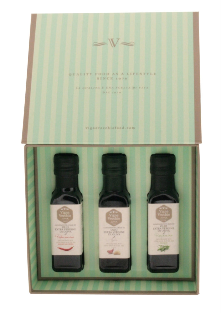 Gift box icluding extra virgin olive oil garlic infused, red hot chili pepper infused and rosemary infused 100ml