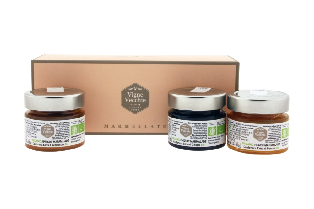 Gift box including organic extra peach, cherry and apricot jams 100g e